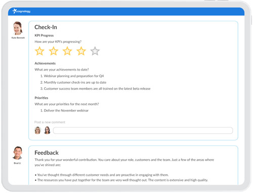 Cognology performance management system check-in and feedback screenshot